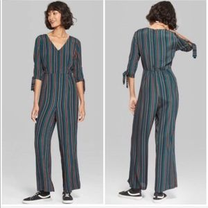Wild Fable | Green Striped Jumpsuit
